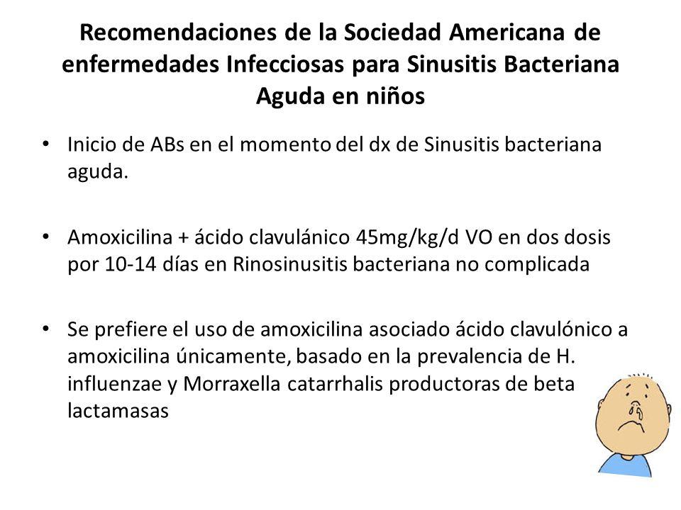 Recomendaciones de la Sociedad Americana de enfermedades Infecciosas para Sinusitis Bacteriana Aguda en niños