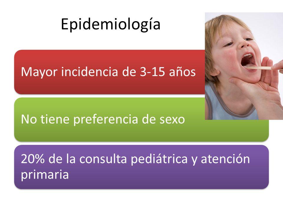 Epidemiología Mayor incidencia de 3-15 años