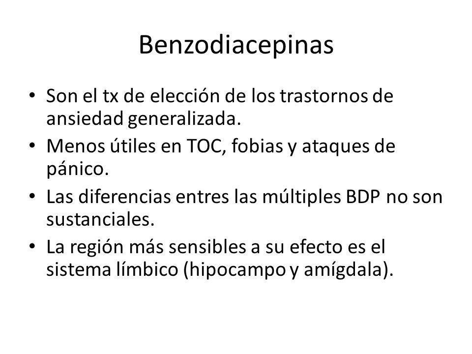 Benzodiacepinas Son el tx de elección de los trastornos de ansiedad generalizada. Menos útiles en TOC, fobias y ataques de pánico.