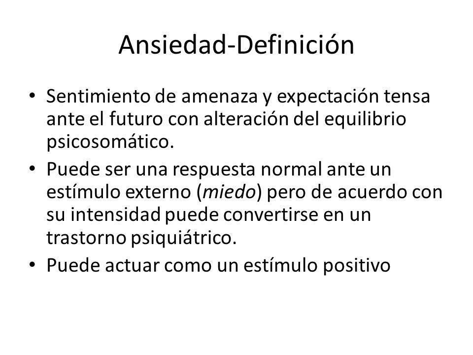 Ansiedad-Definición Sentimiento de amenaza y expectación tensa ante el futuro con alteración del equilibrio psicosomático.