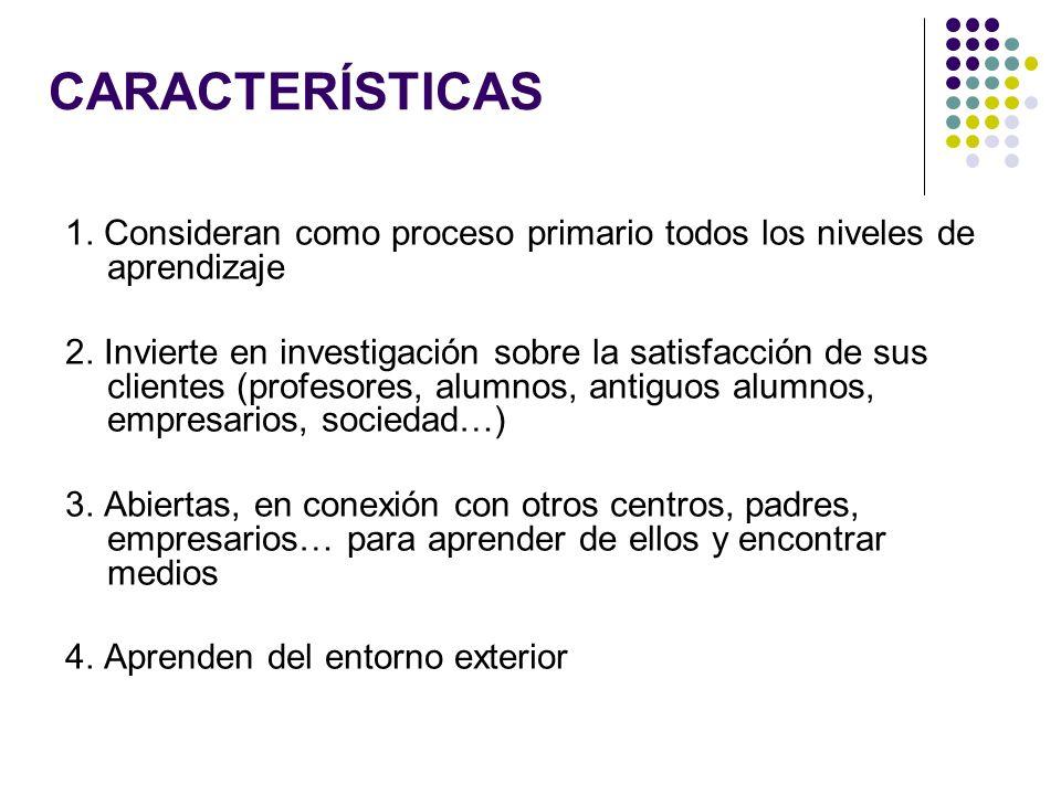 CARACTERÍSTICAS 1. Consideran como proceso primario todos los niveles de aprendizaje.