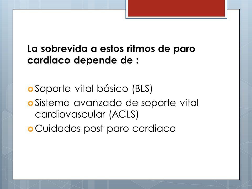 La sobrevida a estos ritmos de paro cardiaco depende de :