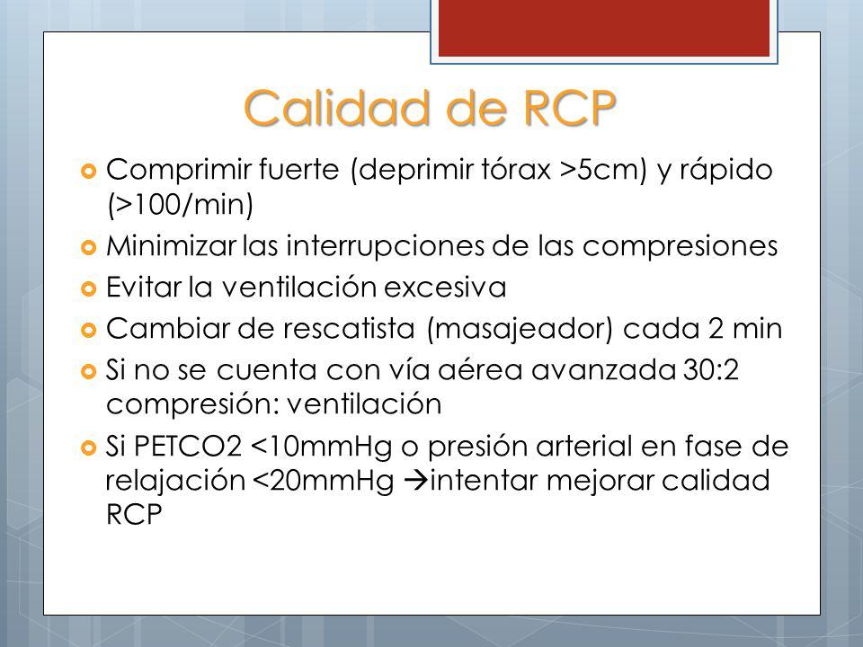 Calidad de RCP Comprimir fuerte (deprimir tórax >5cm) y rápido (>100/min) Minimizar las interrupciones de las compresiones.