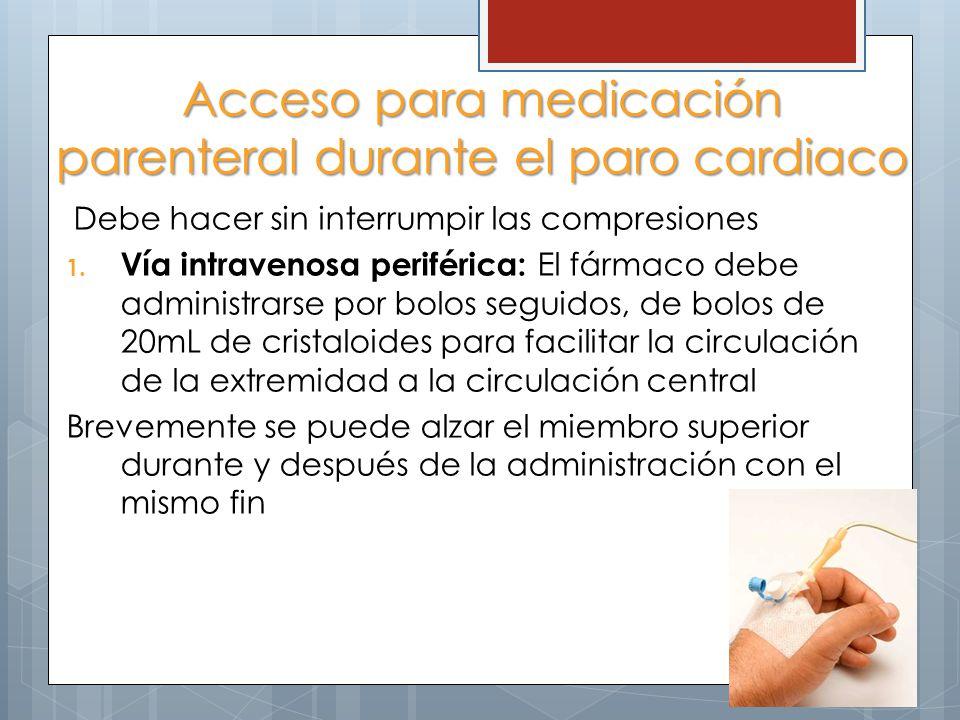 Acceso para medicación parenteral durante el paro cardiaco