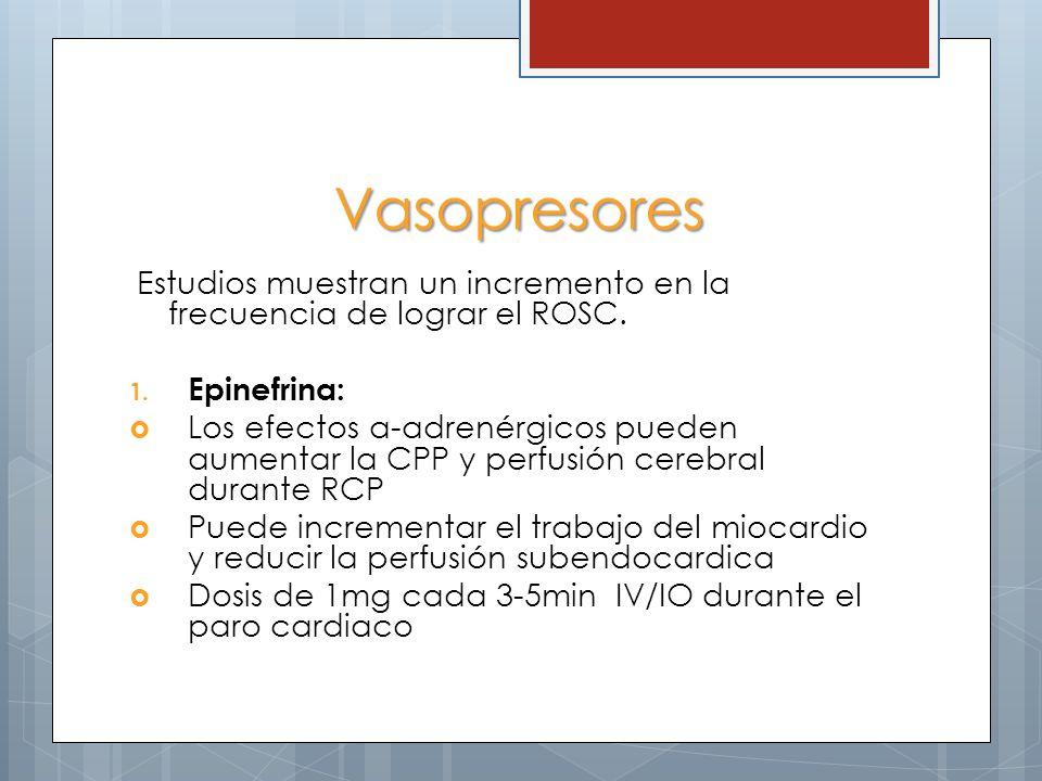 Vasopresores Estudios muestran un incremento en la frecuencia de lograr el ROSC. Epinefrina: