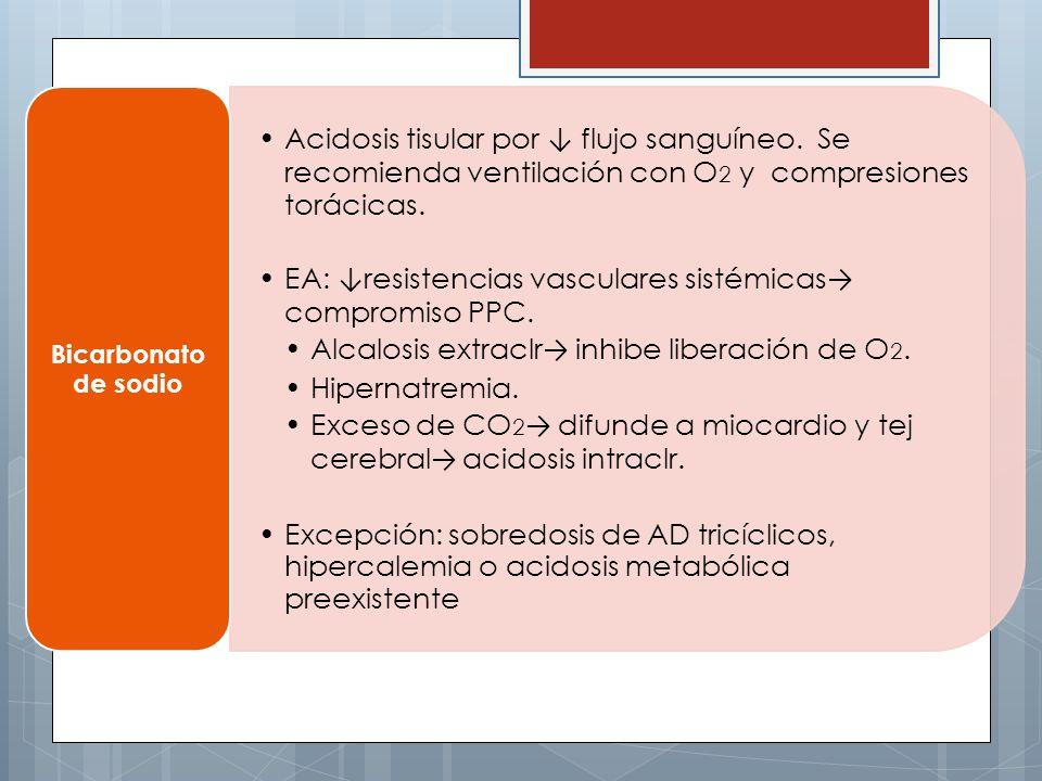 EA: ↓resistencias vasculares sistémicas→ compromiso PPC.