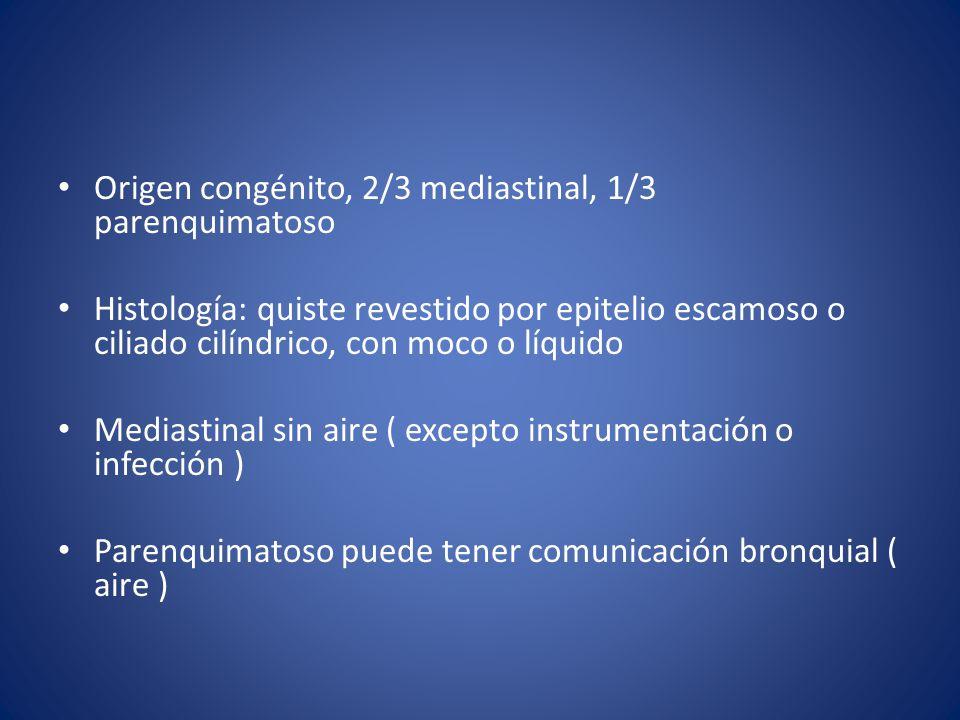 Origen congénito, 2/3 mediastinal, 1/3 parenquimatoso