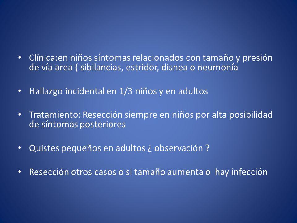 Clínica:en niños síntomas relacionados con tamaño y presión de vía area ( sibilancias, estridor, disnea o neumonía
