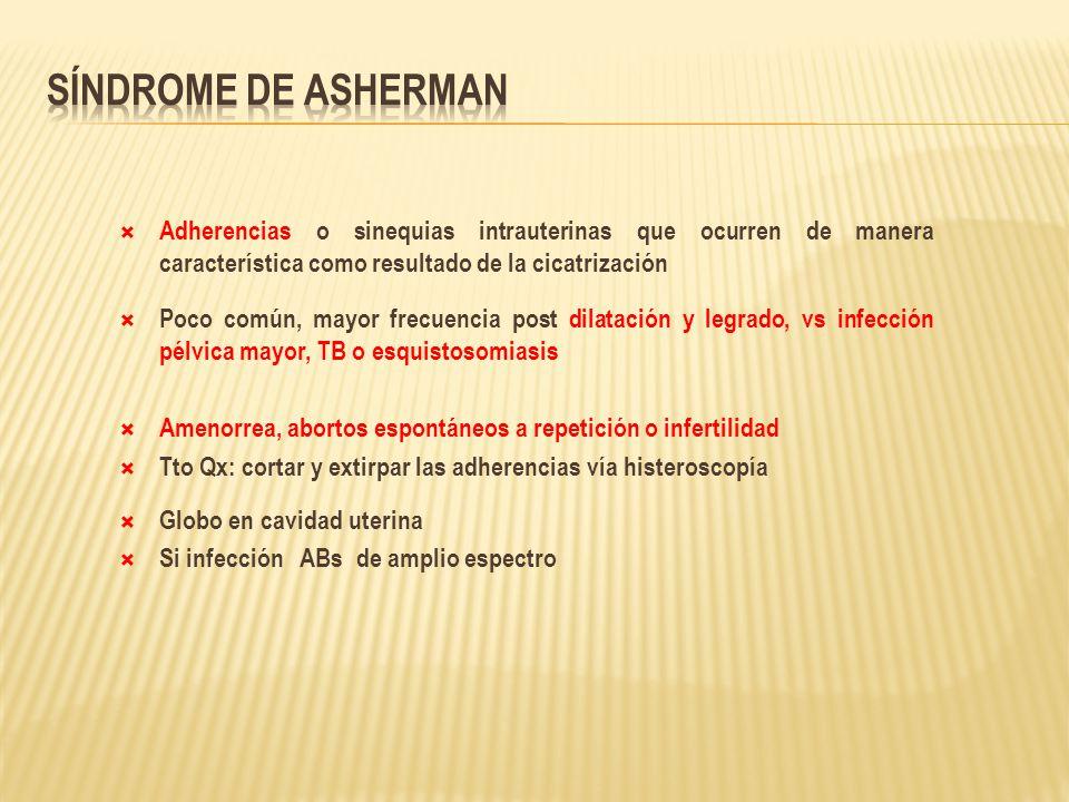 Síndrome de Asherman Adherencias o sinequias intrauterinas que ocurren de manera característica como resultado de la cicatrización.