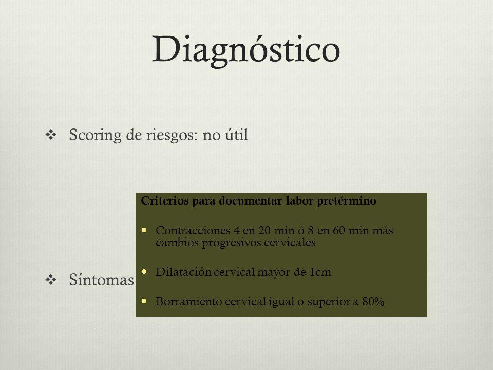 Diagnóstico Scoring de riesgos: no útil Síntomas