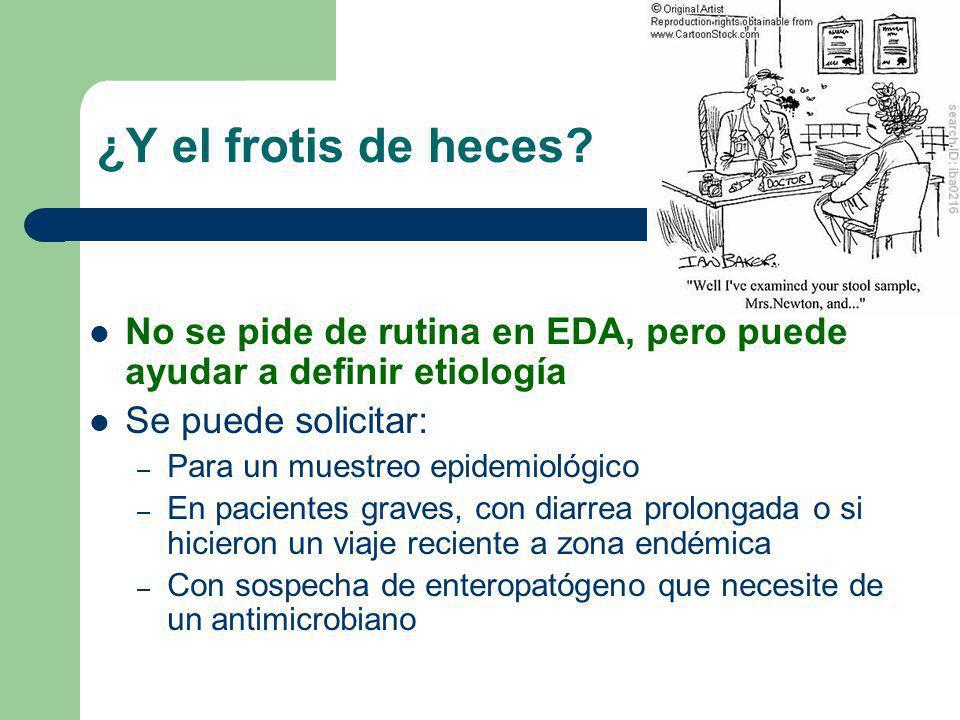 ¿Y el frotis de heces No se pide de rutina en EDA, pero puede ayudar a definir etiología. Se puede solicitar: