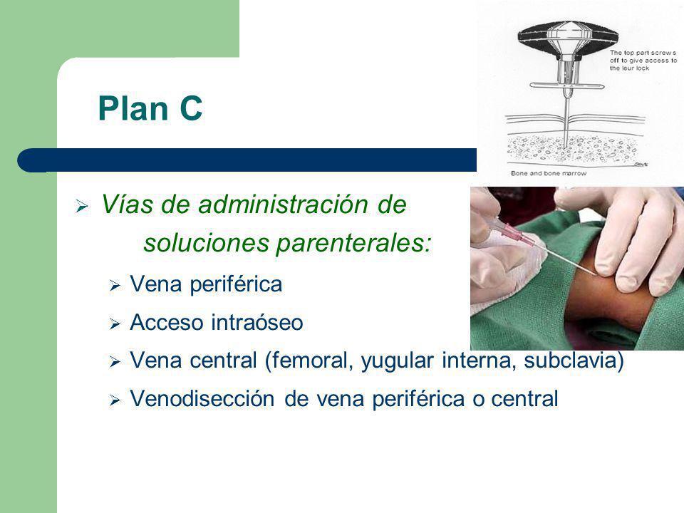 Plan C Vías de administración de soluciones parenterales: