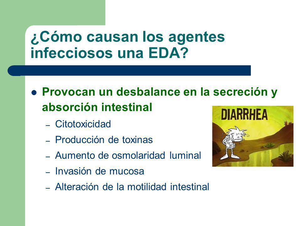 ¿Cómo causan los agentes infecciosos una EDA