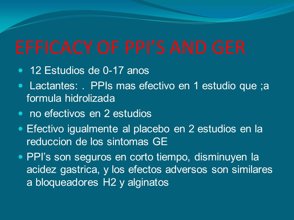 EFFICACY OF PPI'S AND GER