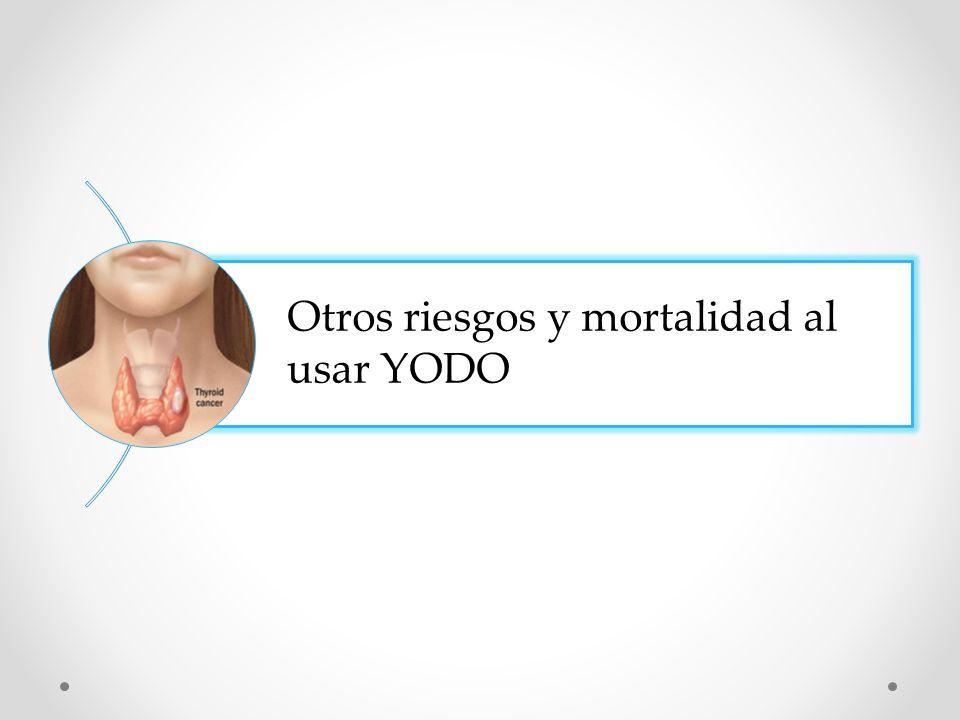 Otros riesgos y mortalidad al usar YODO