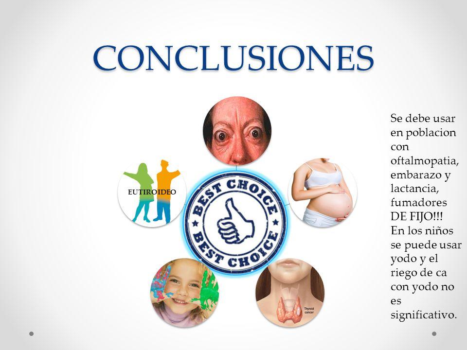 CONCLUSIONES EUTIROIDEO. Se debe usar en poblacion con oftalmopatia, embarazo y lactancia, fumadores DE FIJO!!!