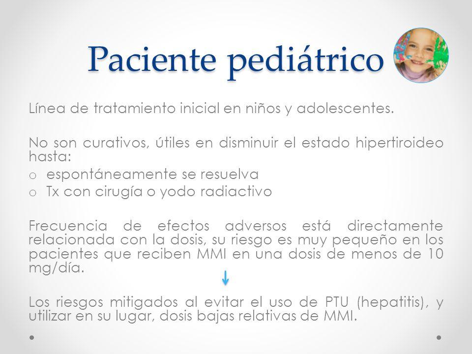 Paciente pediátrico Línea de tratamiento inicial en niños y adolescentes. No son curativos, útiles en disminuir el estado hipertiroideo hasta: