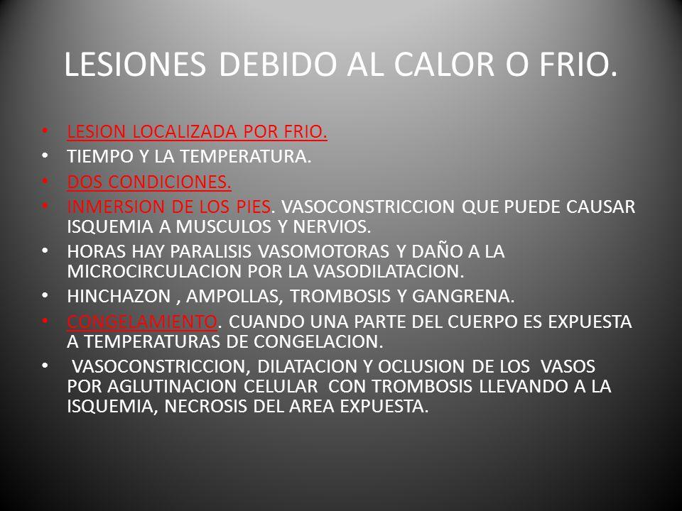 LESIONES DEBIDO AL CALOR O FRIO.