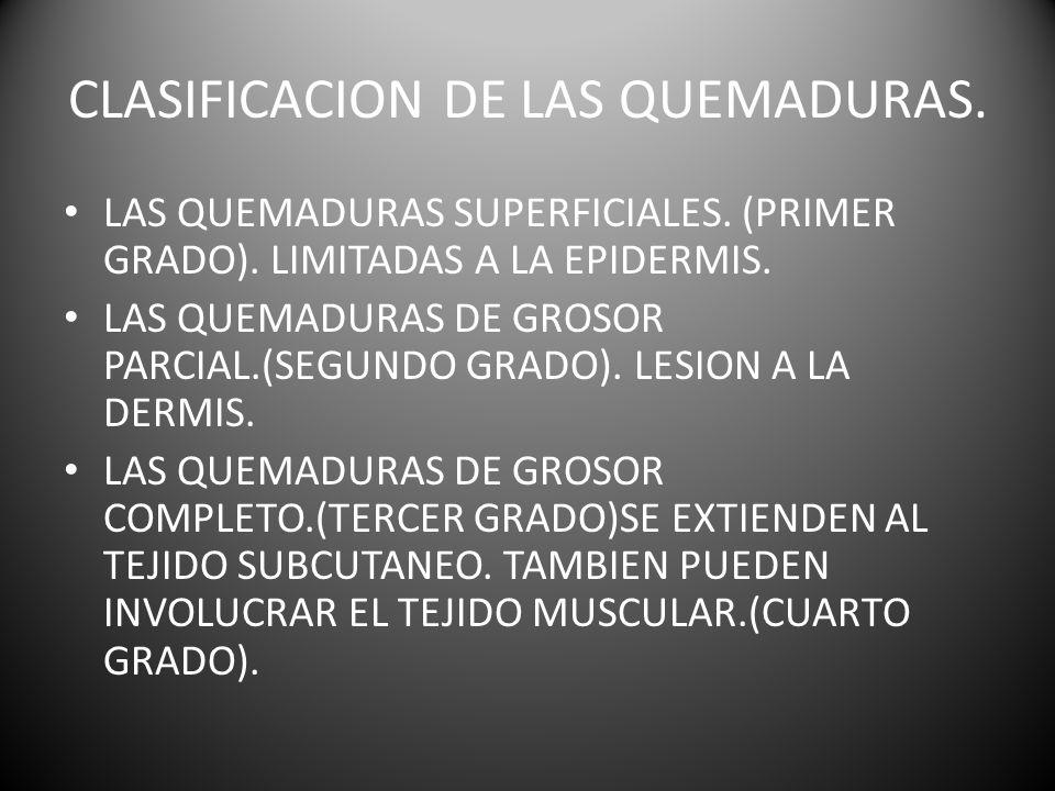 CLASIFICACION DE LAS QUEMADURAS.