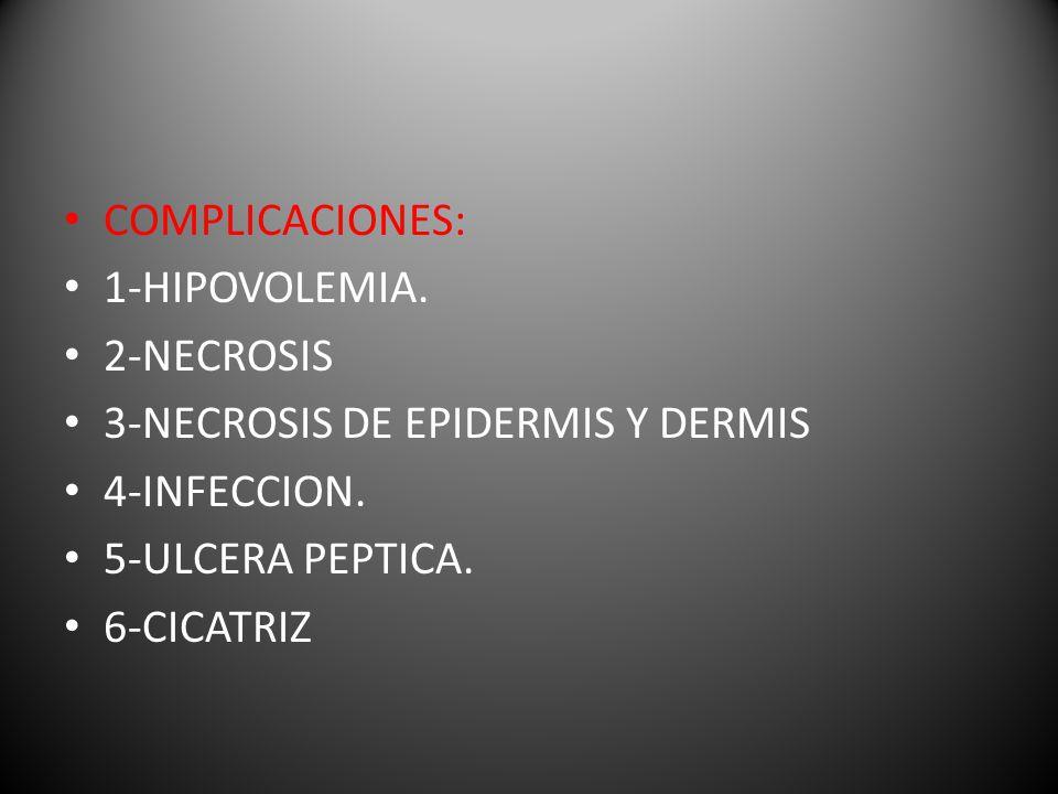 COMPLICACIONES: 1-HIPOVOLEMIA. 2-NECROSIS. 3-NECROSIS DE EPIDERMIS Y DERMIS. 4-INFECCION. 5-ULCERA PEPTICA.
