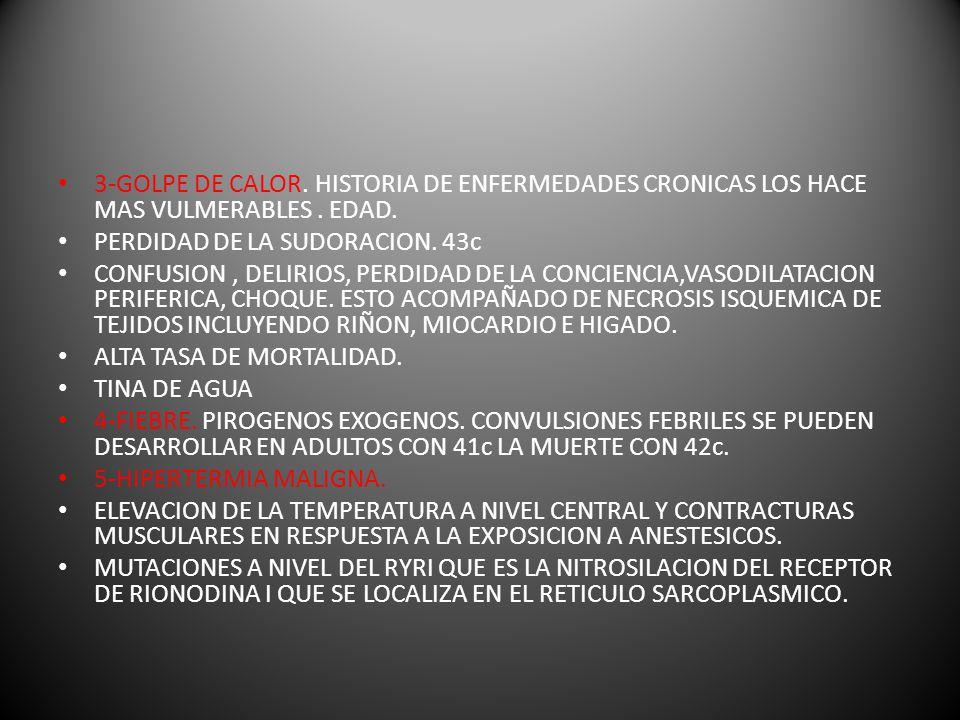 3-GOLPE DE CALOR. HISTORIA DE ENFERMEDADES CRONICAS LOS HACE MAS VULMERABLES . EDAD.