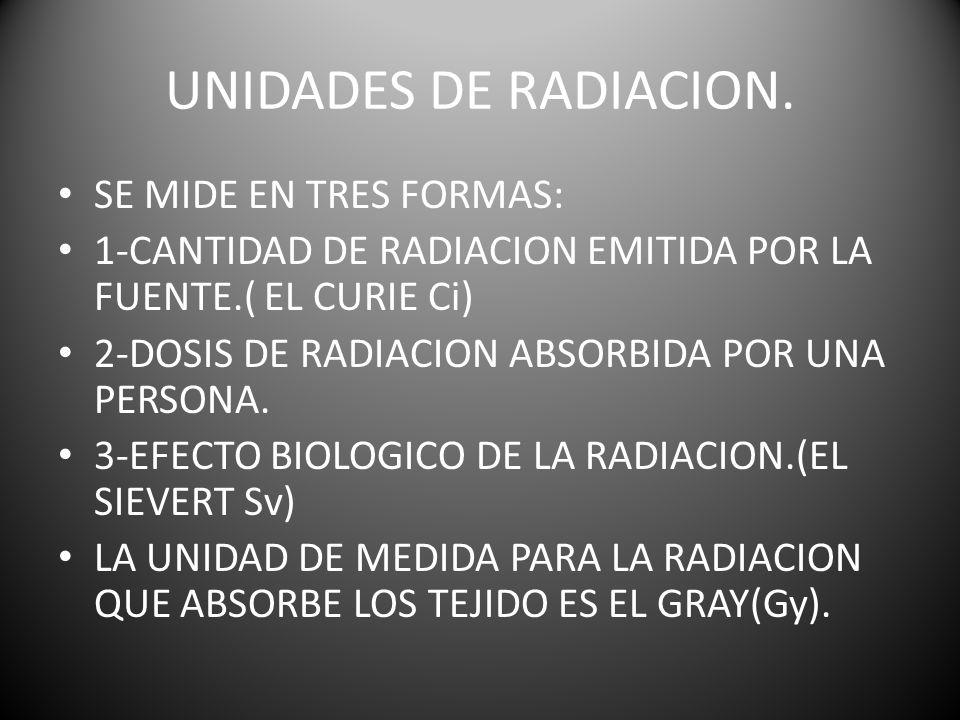 UNIDADES DE RADIACION. SE MIDE EN TRES FORMAS: