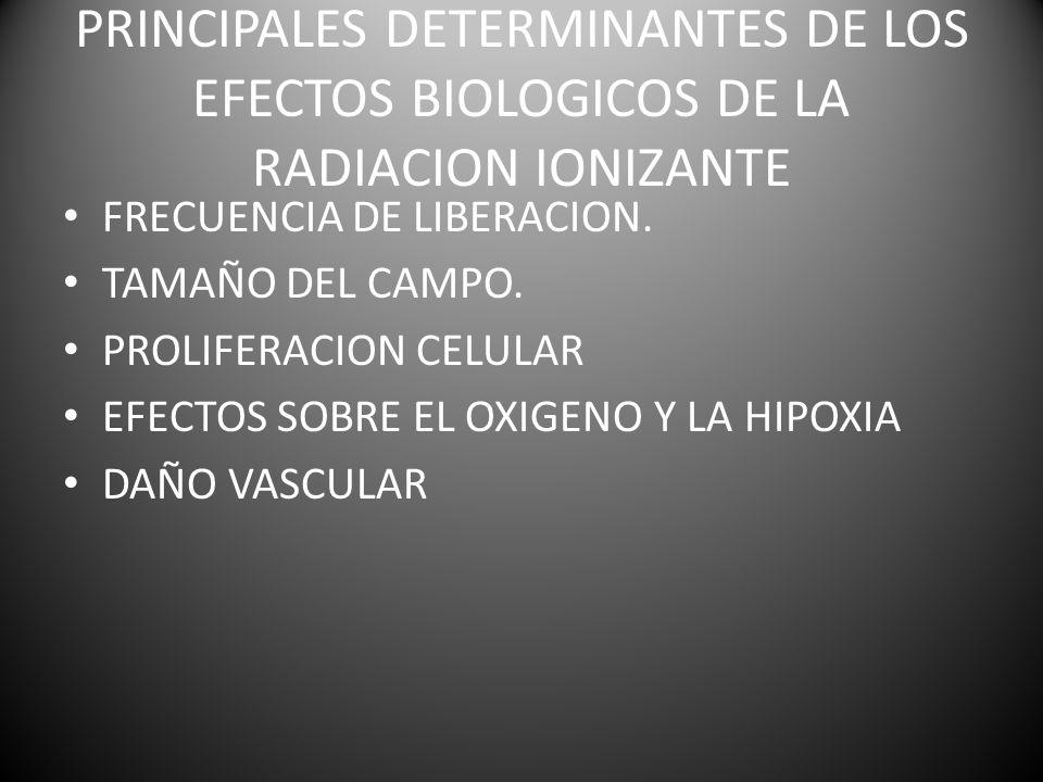 PRINCIPALES DETERMINANTES DE LOS EFECTOS BIOLOGICOS DE LA RADIACION IONIZANTE