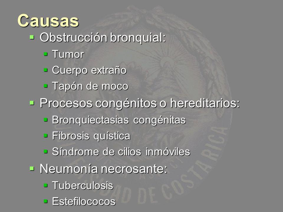 Causas Obstrucción bronquial: Procesos congénitos o hereditarios: