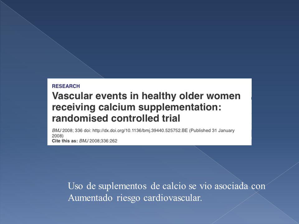 Uso de suplementos de calcio se vio asociada con