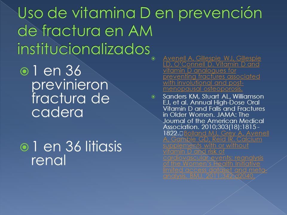 Uso de vitamina D en prevención de fractura en AM institucionalizados