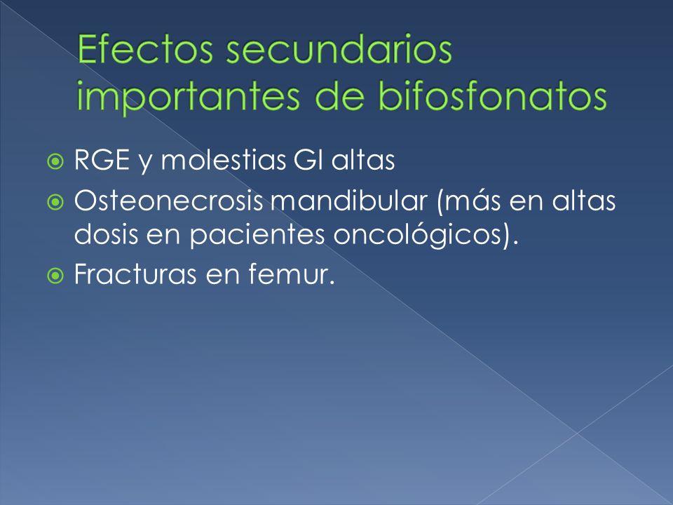 Efectos secundarios importantes de bifosfonatos