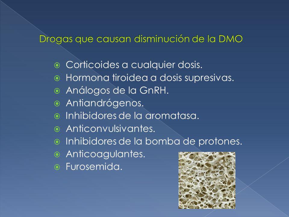 Drogas que causan disminución de la DMO