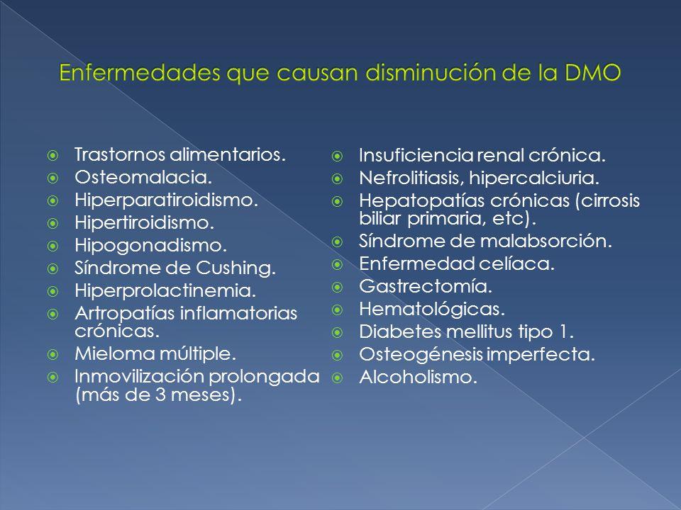 Enfermedades que causan disminución de la DMO