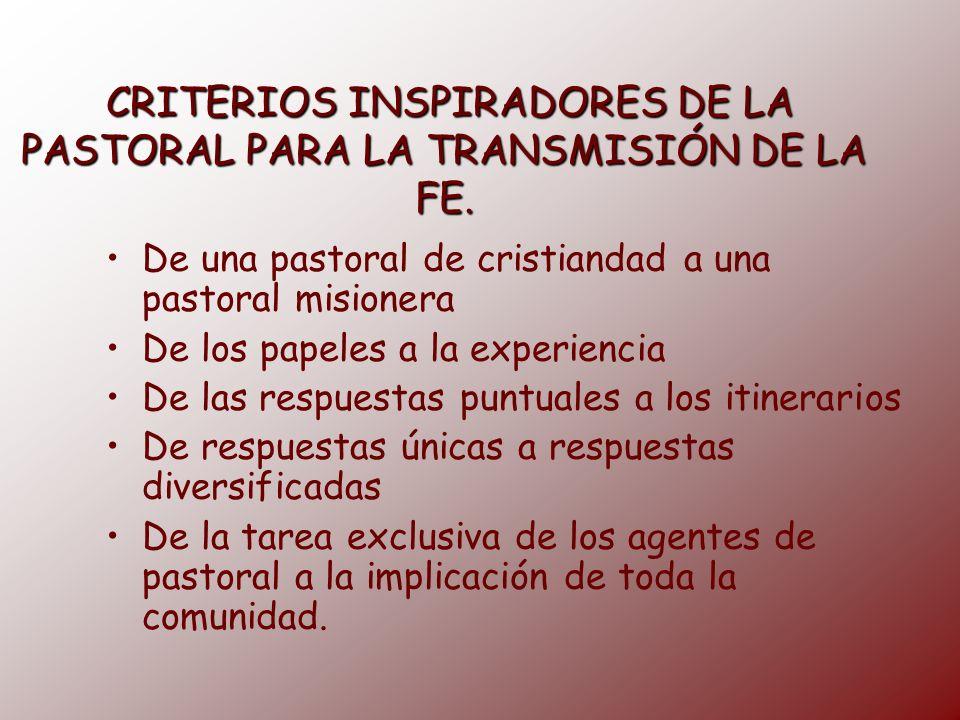 CRITERIOS INSPIRADORES DE LA PASTORAL PARA LA TRANSMISIÓN DE LA FE.