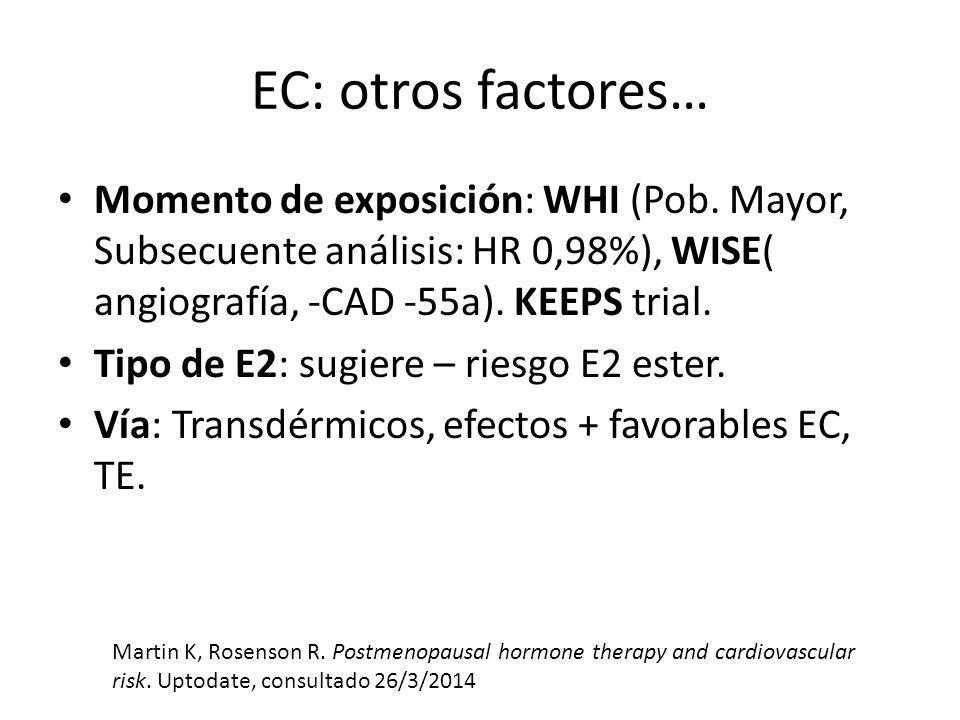 EC: otros factores… Momento de exposición: WHI (Pob. Mayor, Subsecuente análisis: HR 0,98%), WISE( angiografía, -CAD -55a). KEEPS trial.