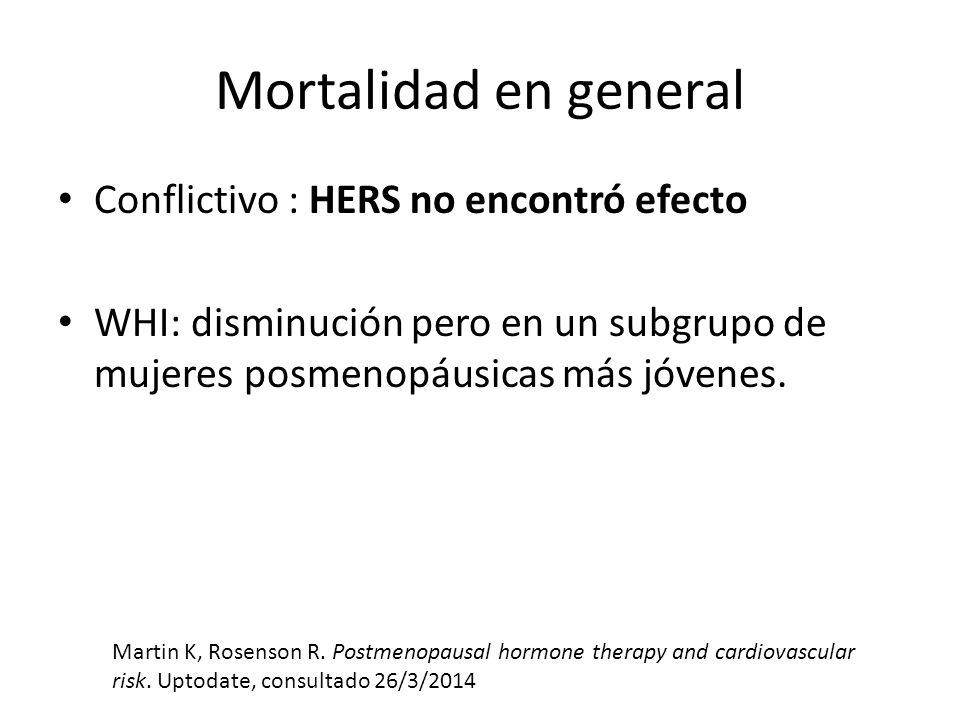 Mortalidad en general Conflictivo : HERS no encontró efecto