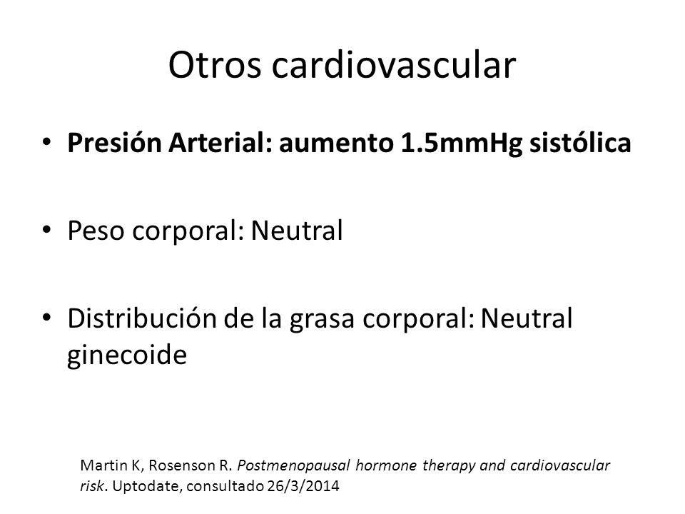 Otros cardiovascular Presión Arterial: aumento 1.5mmHg sistólica