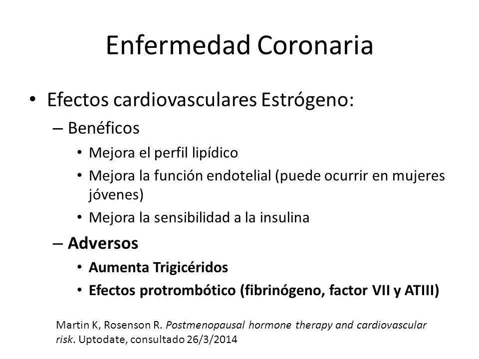 Enfermedad Coronaria Efectos cardiovasculares Estrógeno: Benéficos