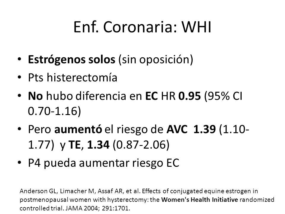 Enf. Coronaria: WHI Estrógenos solos (sin oposición) Pts histerectomía