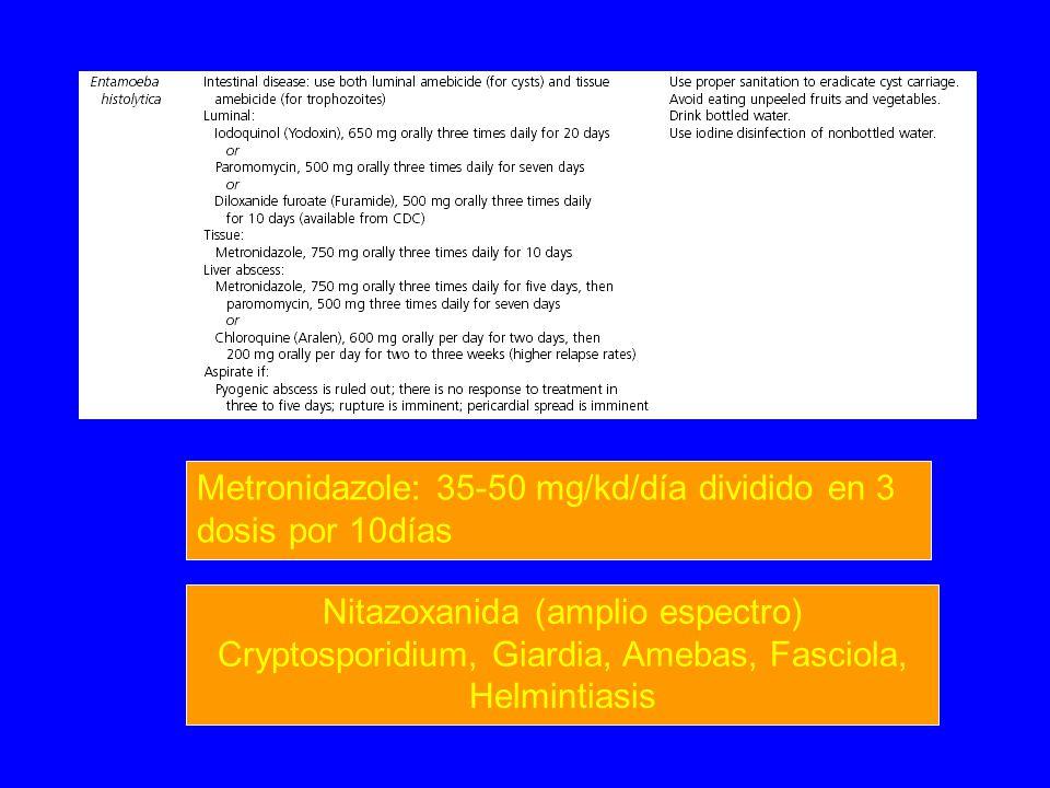 Metronidazole: 35-50 mg/kd/día dividido en 3 dosis por 10días