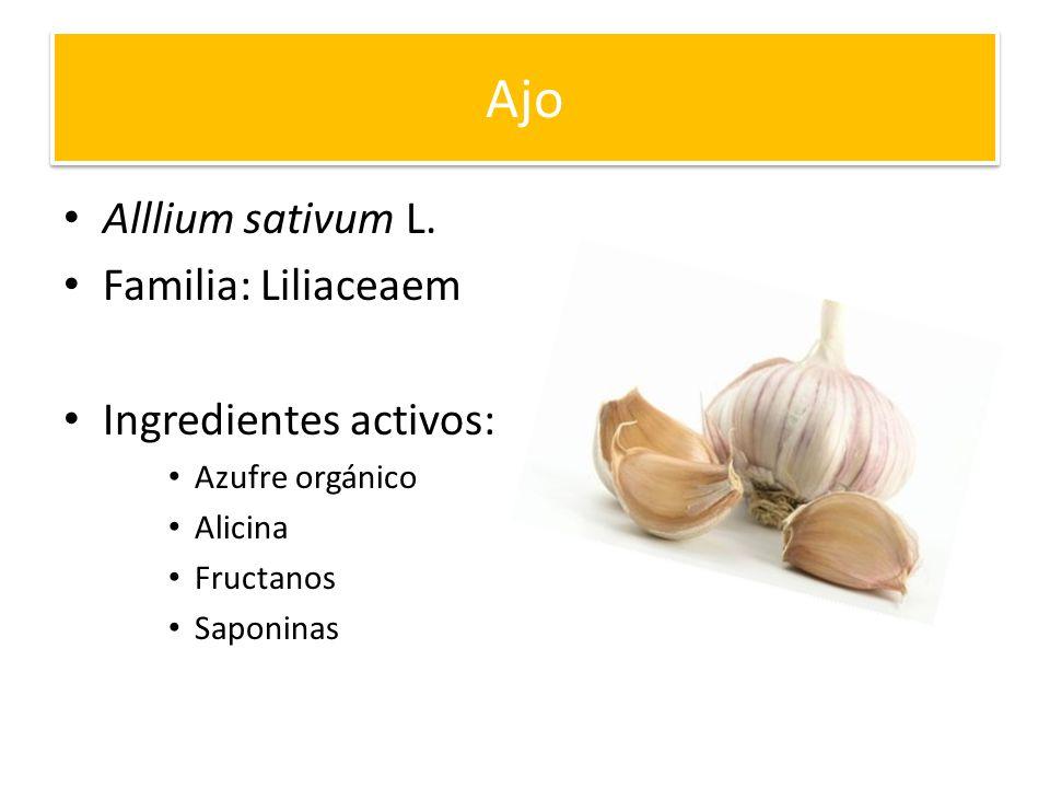 Ajo Alllium sativum L. Familia: Liliaceaem Ingredientes activos: