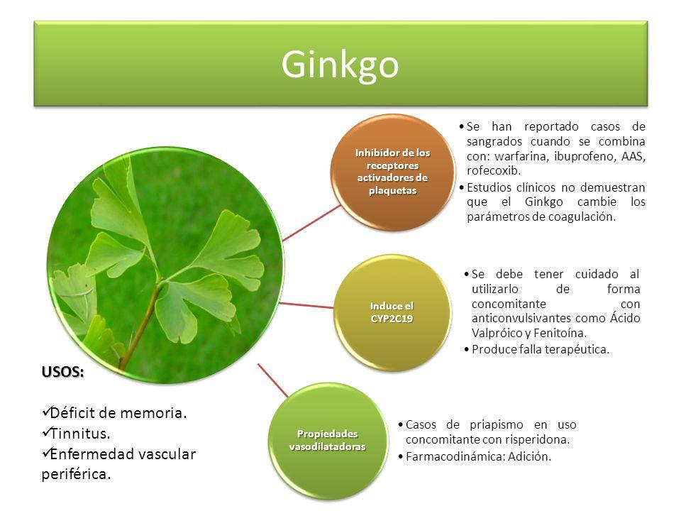 Ginkgo USOS: Déficit de memoria. Tinnitus.