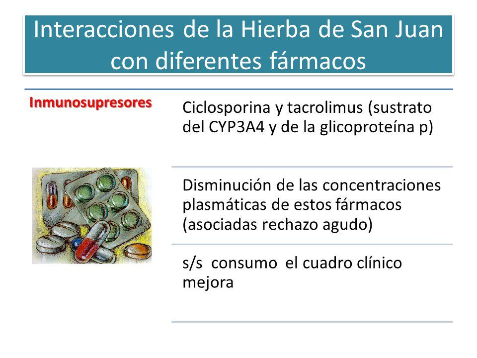 Interacciones de la Hierba de San Juan con diferentes fármacos