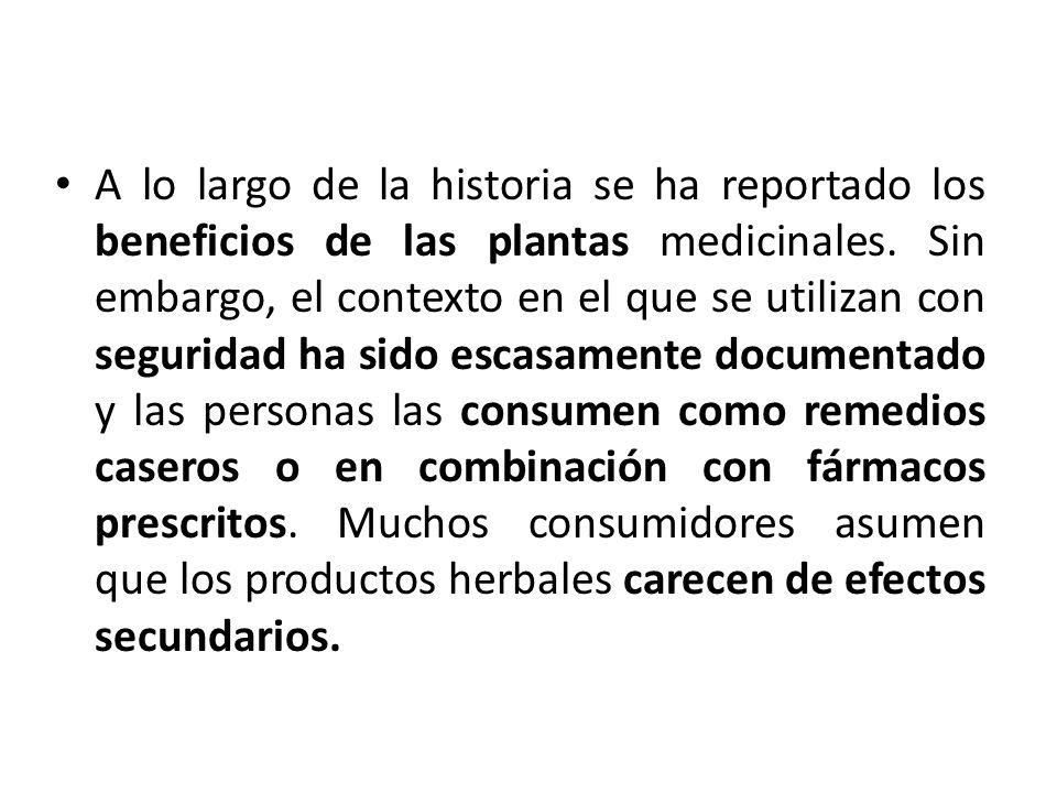A lo largo de la historia se ha reportado los beneficios de las plantas medicinales.