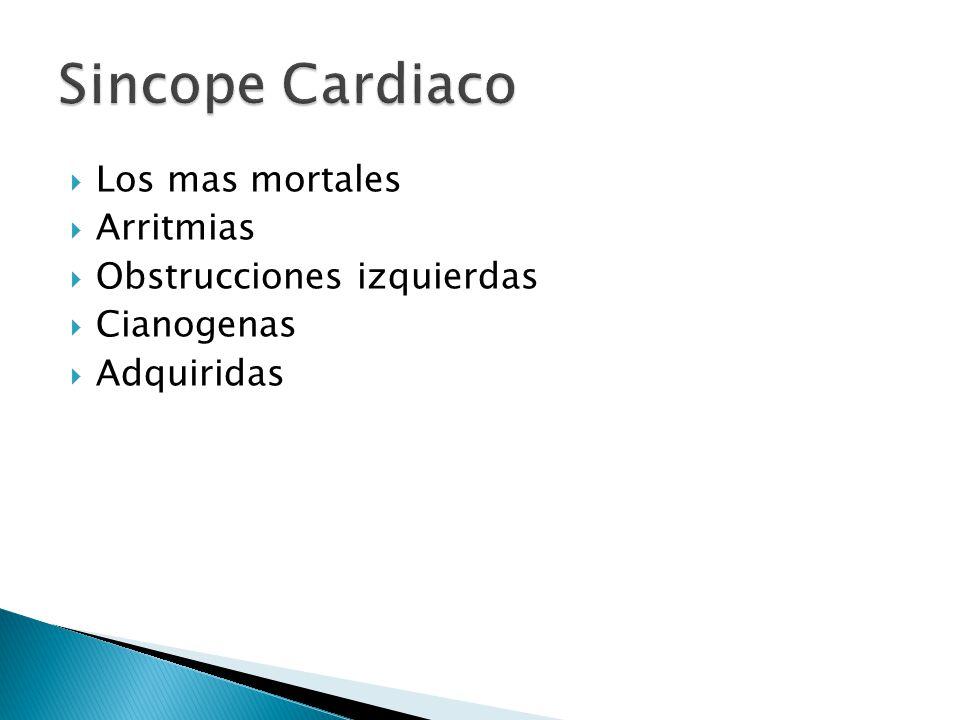 Sincope Cardiaco Los mas mortales Arritmias Obstrucciones izquierdas