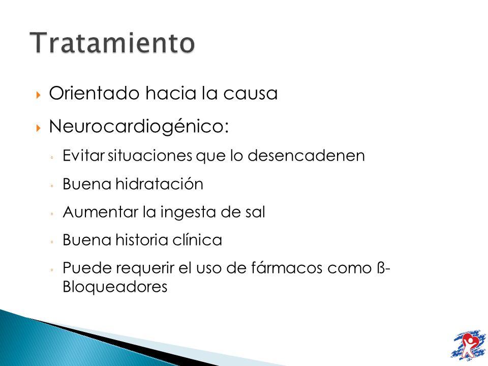 Tratamiento Orientado hacia la causa Neurocardiogénico:
