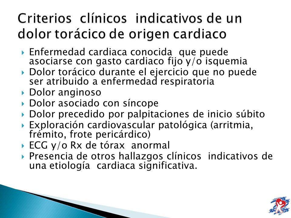 Criterios clínicos indicativos de un dolor torácico de origen cardiaco