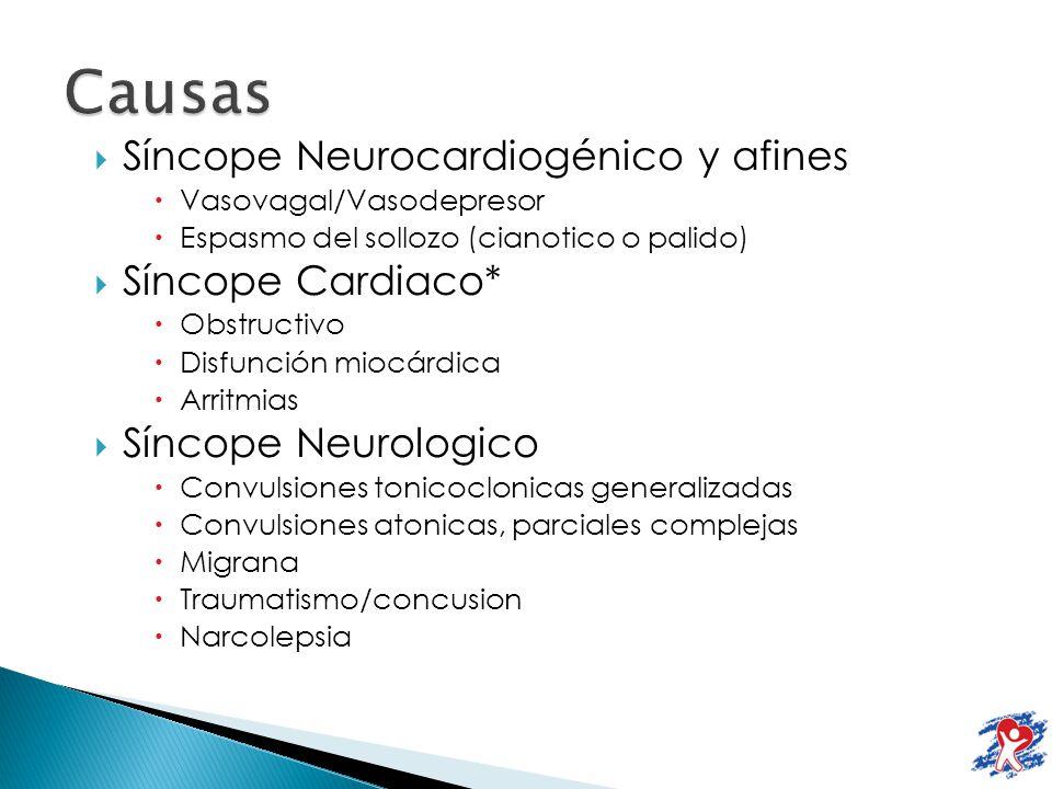 Causas Síncope Neurocardiogénico y afines Síncope Cardiaco*