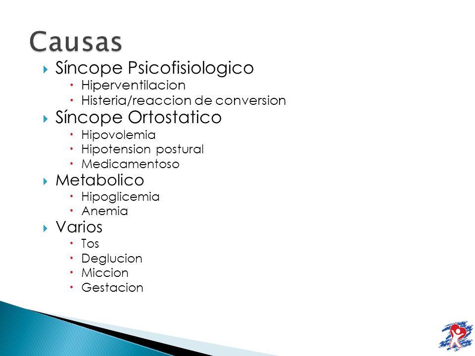Causas Síncope Psicofisiologico Síncope Ortostatico Metabolico Varios