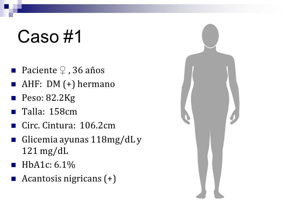 Caso #1 Paciente ♀ , 36 años AHF: DM (+) hermano Peso: 82.2Kg
